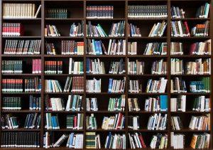 Egy hatalmas könyvespolc, tele könyvekkel.
