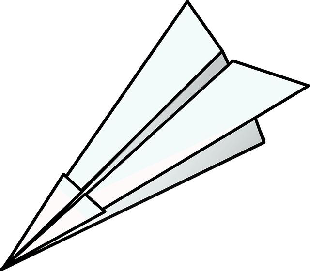 egyszerű papírrepülő sziluetje